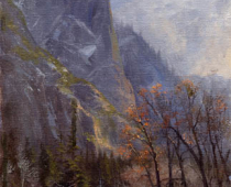 Sentinal Rock, Yosemite National Park, painting of Sentinel Rock in autumn colors by Stefan Baumann