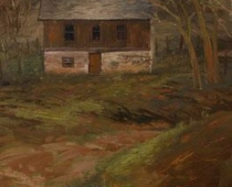 The Old Bunkhouse, painting of a small, old house surrounded by trees by Stefan Baumann