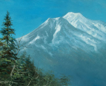 Mount Shasta with Winter Snow, painting of Mt Shasta covered with early snow by Stefan Baumann