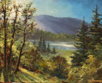 View from the Grand View, Opus 1, painting of a lake, mountain and trees in the Mt Shasta are, view from The Grand View ranch house by Stefan Baumann