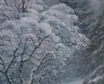 Winter Dogwood, Opus 1, painting of a dogwood tree flocked with snow in a snowy forest by Stefan Baumann