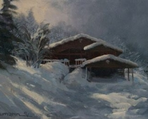 The Grand View Ranch, painting of the Grand View ranch house in deep winter snow by Stefan Baumann