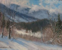 After the Storm, painting of a snow scene with blue sky by Stefan Baumann
