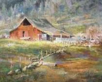 "This is an image of ""Hornbrook Barn, Opus 2"" painted by Stefan Bauman, plein air artist."