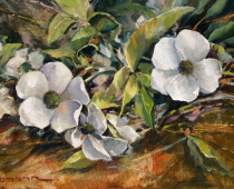 """This is an image of the painting 'Season's Last Blooms,"""" by Stefan Baumann"""