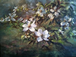 "Image of an oil painting titled ""Mt Shasta Dogwood Blossoms"" by Stefan Baumann"