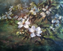 """This is an image of """"Mount Shasta Dogwood Blossoms"""" painted by Stefan Baumann"""