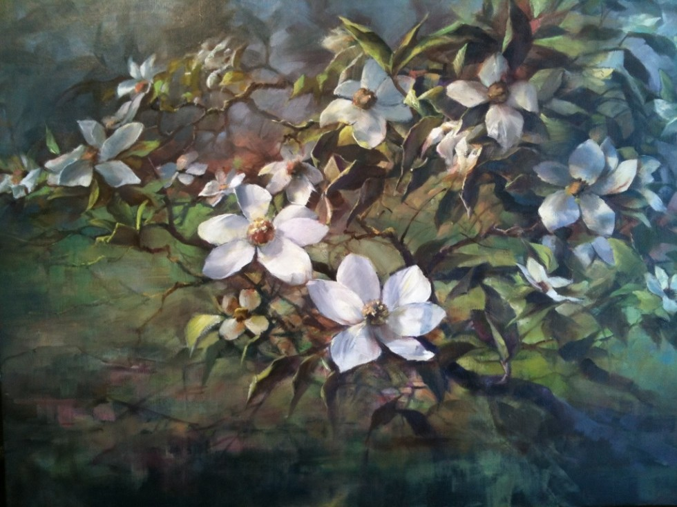 "This is an image of ""Mount Shasta Dogwood Blossoms"" painted by Stefan Baumann"