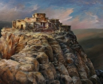 This is an oil painting titled Sunset on Mesa One, by Stefan Baumann featuring a golden sunset on a Hopi Reservation.