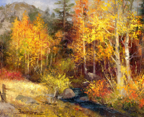 Aspen Creek, oil on canvas. Painting by Stefan Baumann. Painted in Hope Valley, California, this painting is an excellent example of the use of pallet knife and brush when painting alla prima en plein air.