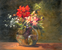Floral Still Life in Vase, oil on canvas. Painting by Stefan Baumann.