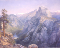 Yosemite National Park View from Glacier Point, oil on canvas. Painting by Stefan Baumann. Painted on location en plein air, alla prima, from Glacier Point this painting is looking south the Yosemite Valley.