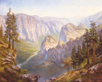 Inspiration Point, Yosemite National Park, oil on canvas. Painting by Stefan Baumann. Yosemite has lots of hidden vistas that very few visitors discover. As an artist we discover hidden vistas that few people have the opportunity to see and re-create them for others to enjoy. Plein air painting on location is not an easy pastime, but a quest to go beyond the boundaries of one's limits.