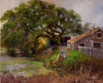 Weeping Willow in the Rain, painting by Stefan Baumann