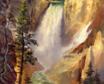 """Lower Yellowstone Falls"" is one of the most iconic locations in America. Thousands travel to Artist Point to see for themselves America at its grandest. Painting in Yellowstone National Park offers so many places to paint, but every artist who travels to Yellowstone must paint here at Artist Point, where Thomas Moran painted so many vistas of Yellowstone. It was one of these paintings that was delivered to the House of Representatives and the Senate to encourage them to vote to recognize Yellowstone as a National Park."