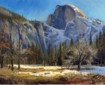 This is an oil painting titled Christmas Day in Yosemite 2003 by Stefan Baumann featuring Half Dome in the snow.
