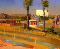 "This is an image of ""Burlingame Drive-in, A Time Gone By"" painted by Stefan Baumann."