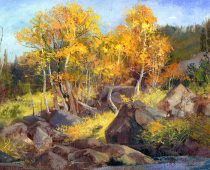 Boulders and Aspens in Hope Valley, painting by Stefan Baumann