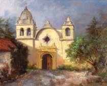 "This is an image of ""Carmel Mission, A Study of Light and Shadow"" painted by Stefan Baumann, 8"" x 10"" oil on panel."