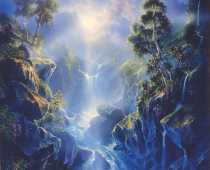 Oil Painting by Stefan Baumann from his imagination of nature's kingdom, of a waterfall with amazing light shining on it, 40x30 oil on stretched canvas with wood bars.