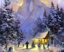 "This is an image of ice skaters in ""Christmas in Yosemite National Park"" painted by Stefan Baumann. From Baumann's collection of Christmas paintings."