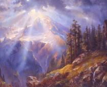 Sun Rays over Mount Rainier, oil on canvas. Painting of Mount Rainier by Stefan Baumann