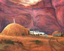 Monument Valley, oil on canvas. Painting by Stefan Baumann.