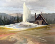 Old Faithful Lodge, painted on location in Yellowstone National Park