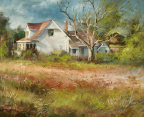 Farmhouse Near Winter's Cutoff. Oil on canvas, painting by Stefan Baumann