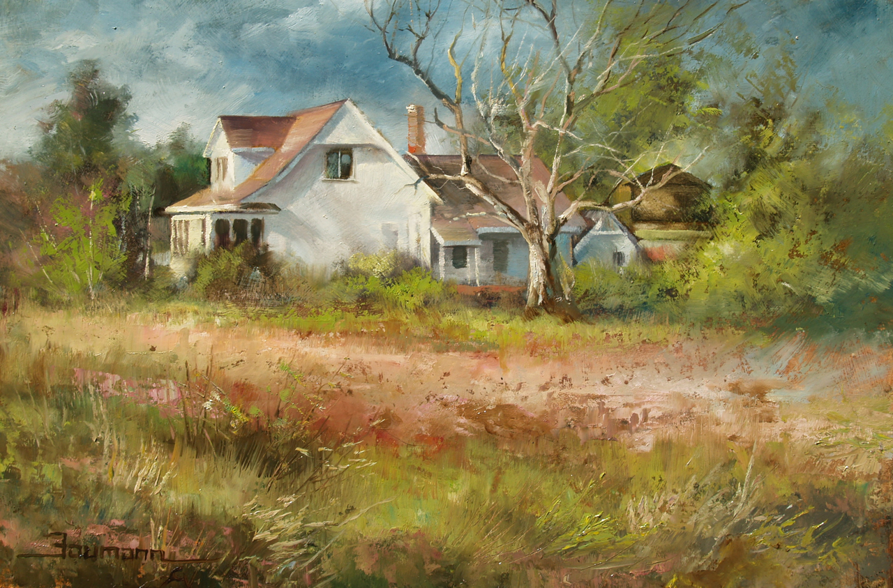 Farmhouse Near Winters Cutoff Painting By Stefan Baumann