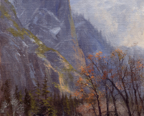 Yosemite, Christmas Day. Oil on canvas, one of several Christmas paintings by Stefan Baumann