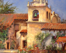 painting of Carmel Mission by Stefan Baumann