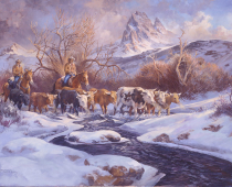 Last Cattle Drive of the Season, Glacier National Park, Oil painting by Stefan Baumann
