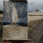 painting a geyser demonstration picture 1 for Three Keys to Plein Air Success, Inspiration, Composition & Application, Part 2