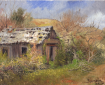 Aging Cabin in a Field, oil on canvas. Painting by Stefan Baumann