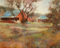 Hornbrook Barn, Opus 3. Oil on Canvas, painting by Stefan Baumann