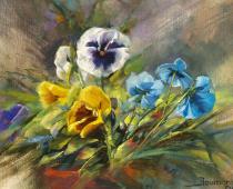 Pansies, Opus 1. Oil on canvas by Stefan Baumann
