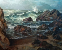 Tides at Asilomar, ocean waves painted by stefan baumann