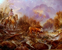 Painting of a cowboy on horseback rounding up a stray calf by Stefan Baumann. This painting won a blue ribbon at the 2014 4th Annual Western Art Show in Red Bluff, CA,