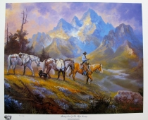"""Packing Out of the High Country"" is a western painting depicting a cowboy guide packing out of Teton National Park"