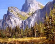 "Bridal Veil Falls, Yosemite National Park. 12"" X 18"" Oil on canvas. This painting was created en plein air on location in Yosemite Valley in summer at Bridal Veil Vista Point. Yosemite is a grand location for outdoor painters to go and be with nature."