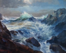 This is a plein air painting of Asilomar Beach at sunset in California by artist Stefan Baumann is challenging to paint because of the changing movement of the waves crashing on the rocks.