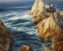 This is a plein air painting of Point Lobos State Park by Stefan Bauman that shows the effect of sunlight on the rocks and ocean.