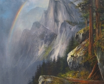 This is an oil painting by Stefan Baumann titled After the Storm of Half Dome from Glacier Point in Yosemite National Park showing a rainbow after a storm..