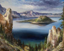 This is a painting called Still Waters Run Deep of Crater Lake by Stefan Baumann shows a view of the island in the surrounded by the deep blue water of the lake.