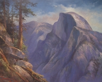 Original Yosemite oil painting of Half Dome entitled Echo by Stefan Baumann features the canyon and Half Dome as seen from Glacier Point.
