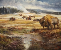 This plein air oil painting is called Equinox Congregation of Bison by Stefan Baumann standing together in a meadow in Yellowstone National Park.