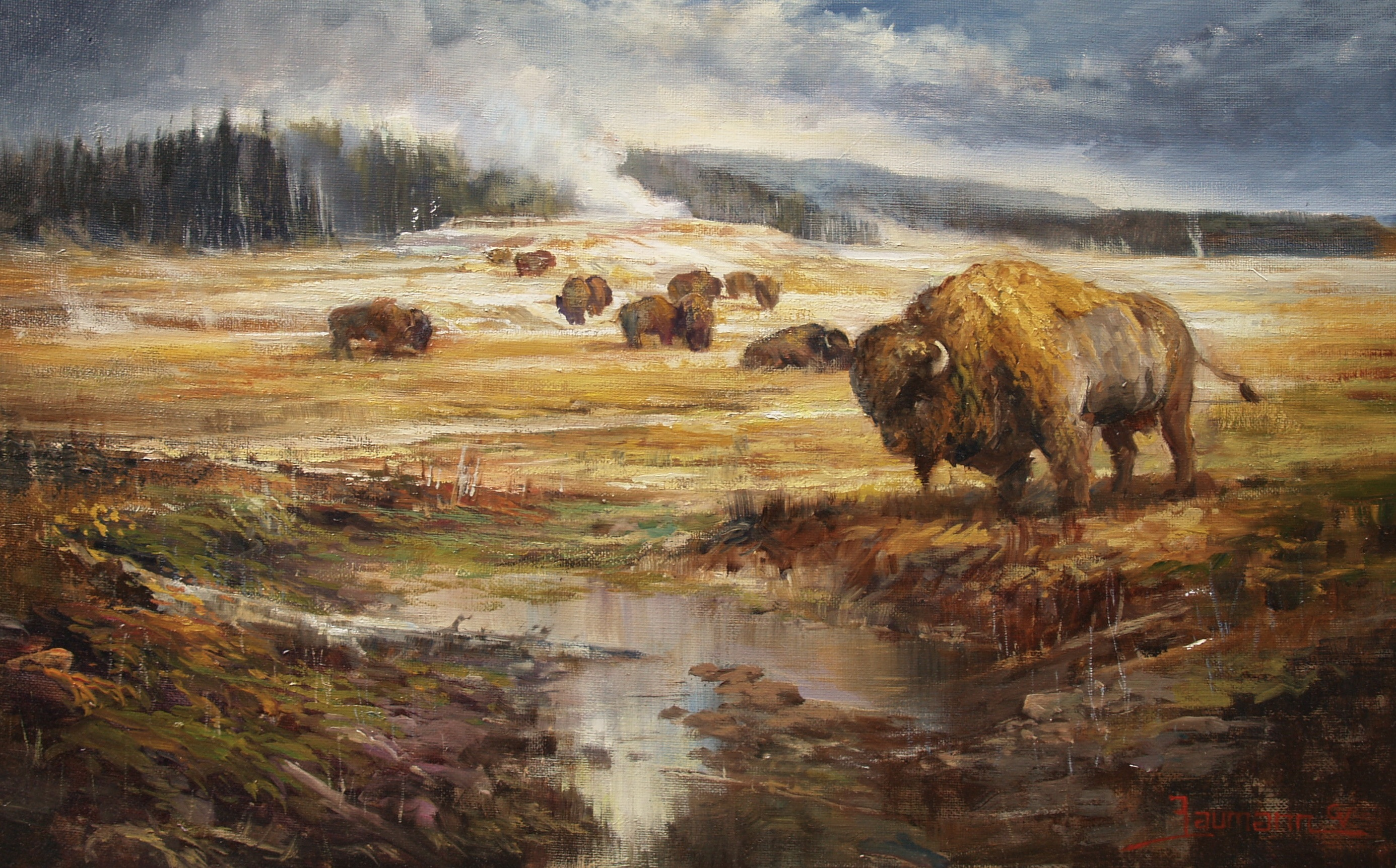 Yellowstone Painting Equinox Congregation Of Bison