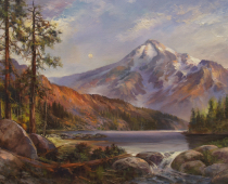 This is a painting of Mt. Shasta called Illusion of Grandeus by Stefan Baumann and a near-by lake that illustrates the magnificence and beauty of the volcanic mountain.