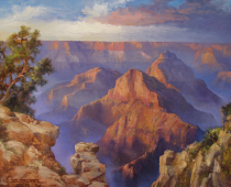 This is a painting by Stefan Baumann called In Resplendent Awe of the Grand Canyon with brilliant orange and purple coloring.
